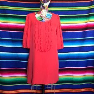 Tibi Silk Ruffle Shift Dress